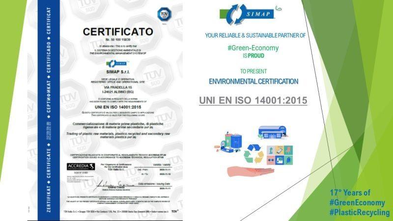 Simap ottiene la certificazione ambientale ISO 14001